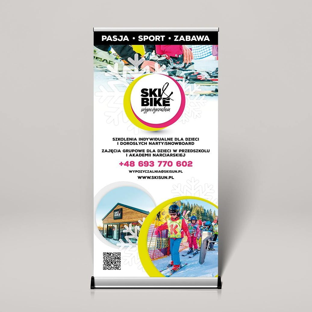 Rollup i dyplomy dla wypożyczalnia Ski&Bike